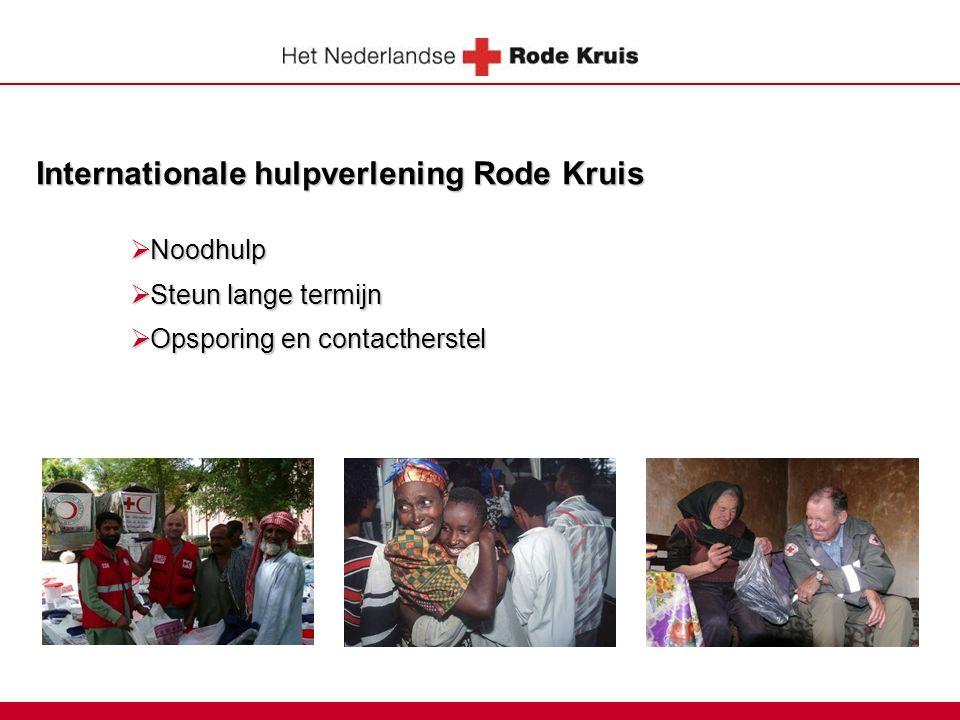 Internationale hulpverlening Rode Kruis  Noodhulp  Steun lange termijn  Opsporing en contactherstel