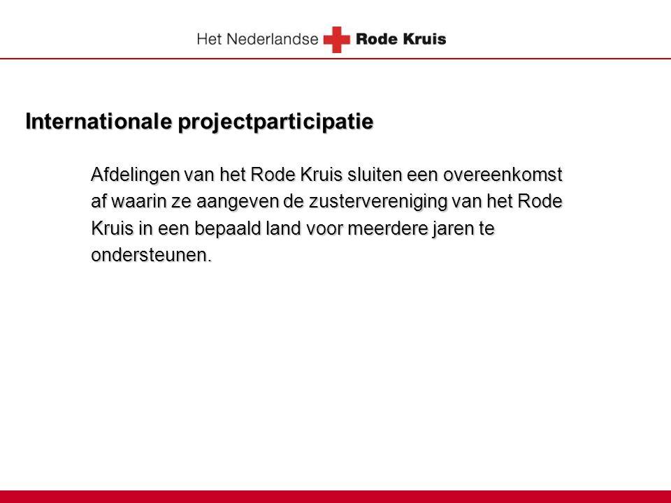 Internationale projectparticipatie Afdelingen van het Rode Kruis sluiten een overeenkomst af waarin ze aangeven de zustervereniging van het Rode Kruis in een bepaald land voor meerdere jaren te ondersteunen.