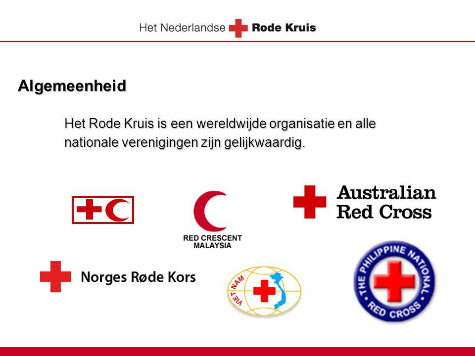 Algemeenheid Het Rode Kruis is een wereldwijde organisatie en alle nationale verenigingen zijn gelijkwaardig.