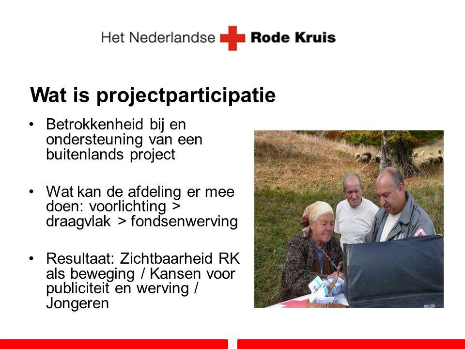 Wat is projectparticipatie Betrokkenheid bij en ondersteuning van een buitenlands project Wat kan de afdeling er mee doen: voorlichting > draagvlak >