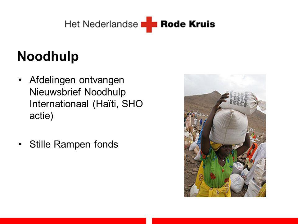 Noodhulp Afdelingen ontvangen Nieuwsbrief Noodhulp Internationaal (Haïti, SHO actie) Stille Rampen fonds