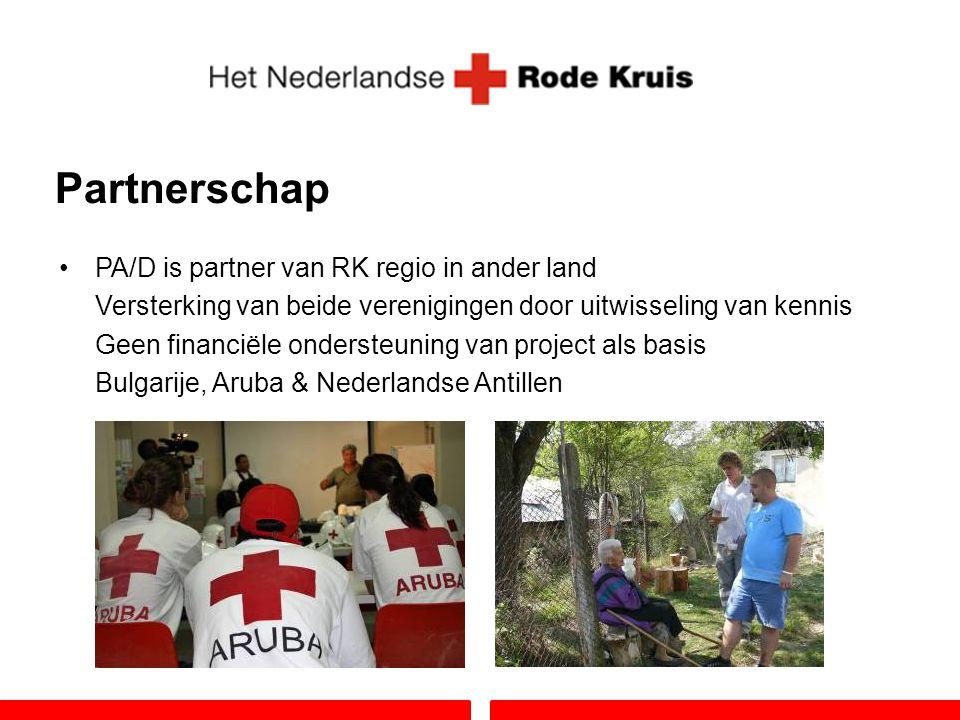 Partnerschap PA/D is partner van RK regio in ander land Versterking van beide verenigingen door uitwisseling van kennis Geen financiële ondersteuning