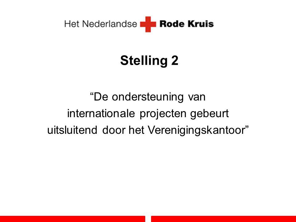 """Stelling 2 """"De ondersteuning van internationale projecten gebeurt uitsluitend door het Verenigingskantoor"""""""