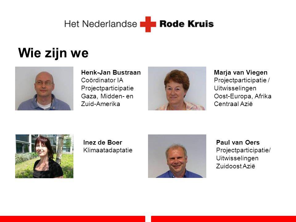 Wie zijn we Henk-Jan Bustraan Coördinator IA Projectparticipatie Gaza, Midden- en Zuid-Amerika Inez de Boer Klimaatadaptatie Paul van Oers Projectpart