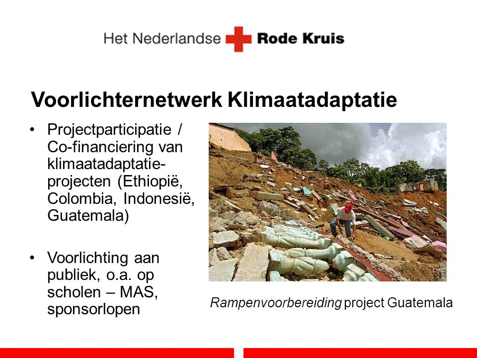Voorlichternetwerk Klimaatadaptatie Projectparticipatie / Co-financiering van klimaatadaptatie- projecten (Ethiopië, Colombia, Indonesië, Guatemala) V