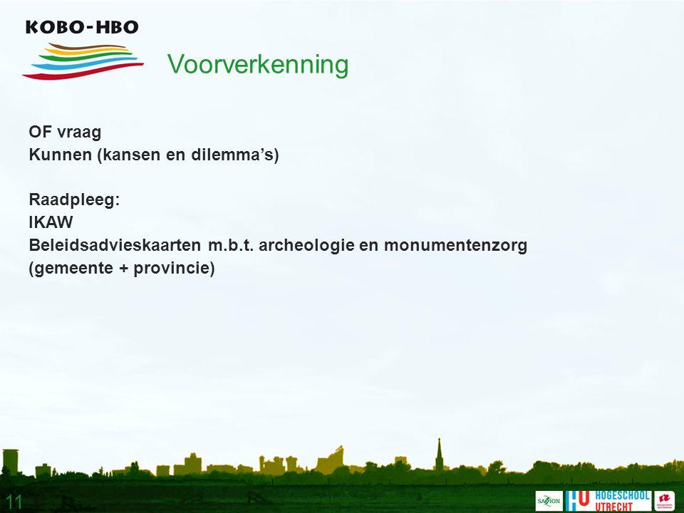 11 Voorverkenning OF vraag Kunnen (kansen en dilemma's) Raadpleeg: IKAW Beleidsadvieskaarten m.b.t.