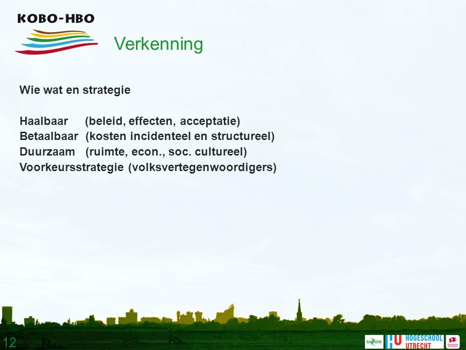 12 Verkenning Wie wat en strategie Haalbaar (beleid, effecten, acceptatie) Betaalbaar (kosten incidenteel en structureel) Duurzaam (ruimte, econ., soc.