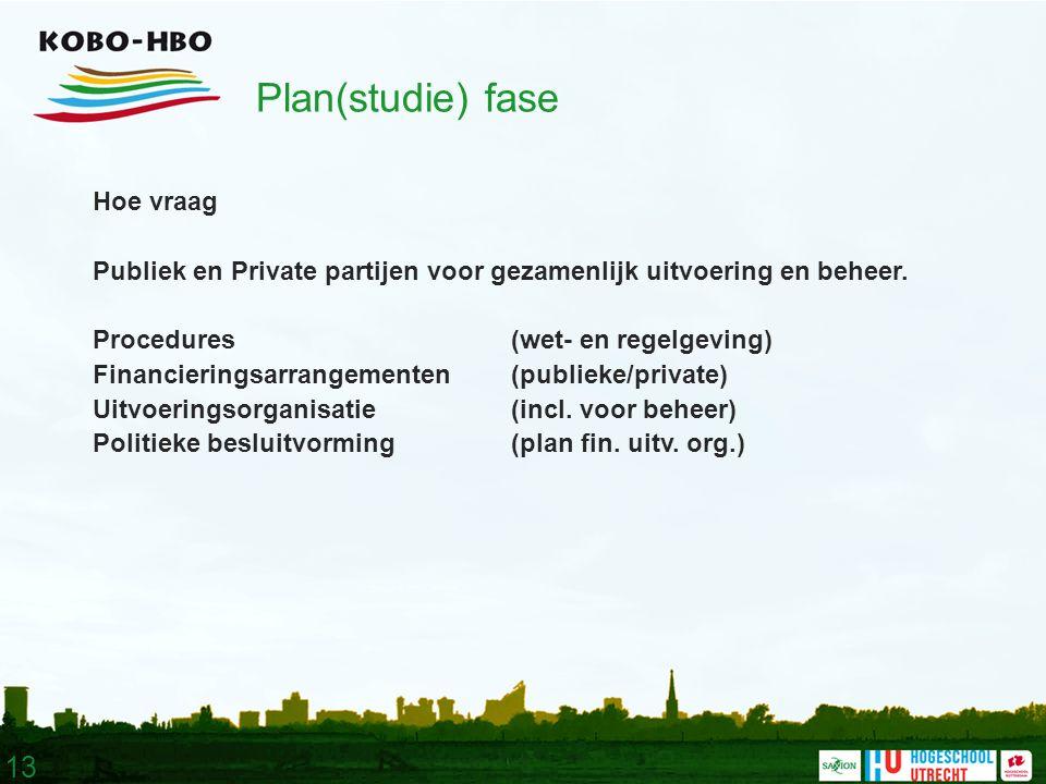 13 Plan(studie) fase Hoe vraag Publiek en Private partijen voor gezamenlijk uitvoering en beheer.