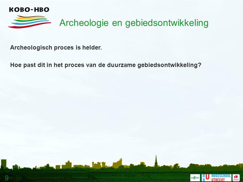 9 Archeologie en gebiedsontwikkeling Archeologisch proces is helder.