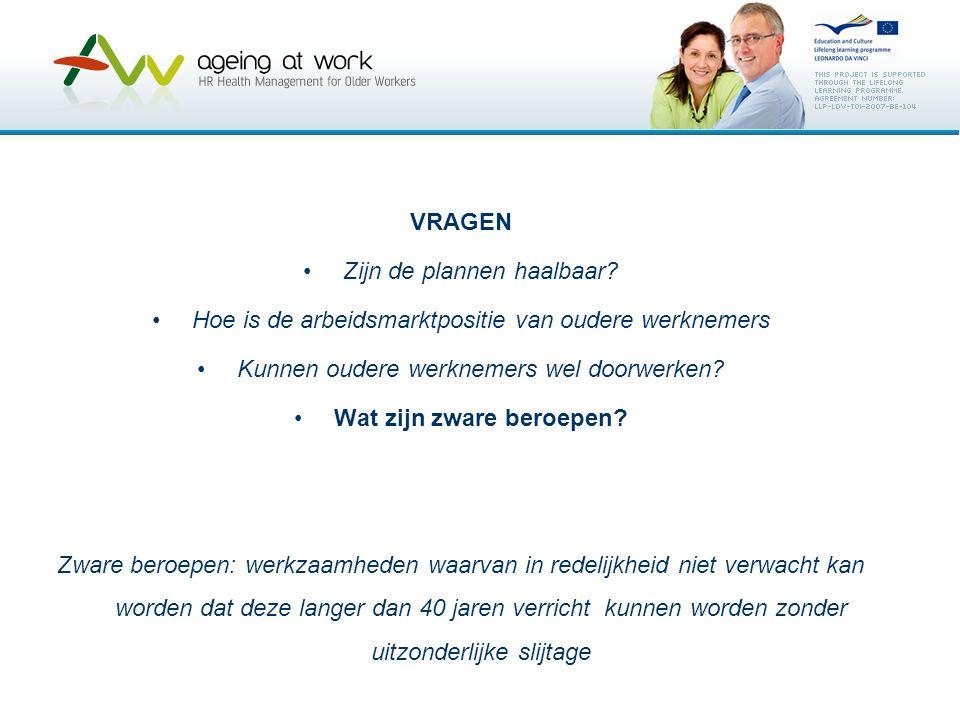 VRAGEN Zijn de plannen haalbaar? Hoe is de arbeidsmarktpositie van oudere werknemers Kunnen oudere werknemers wel doorwerken? Wat zijn zware beroepen?