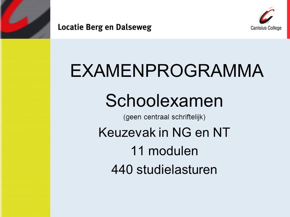 EXAMENPROGRAMMA Schoolexamen (geen centraal schriftelijk) Keuzevak in NG en NT 11 modulen 440 studielasturen