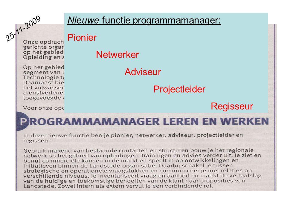 25-11-2009 Nieuwe functie programmamanager: Pionier Netwerker Adviseur Projectleider Regisseur