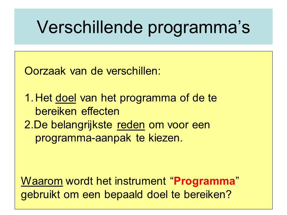 Verschillende programma's Oorzaak van de verschillen: 1.Het doel van het programma of de te bereiken effecten 2.De belangrijkste reden om voor een programma-aanpak te kiezen.