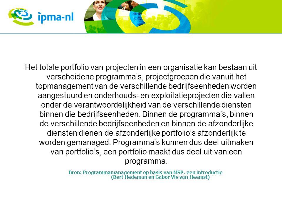 Het totale portfolio van projecten in een organisatie kan bestaan uit verscheidene programma's, projectgroepen die vanuit het topmanagement van de ver