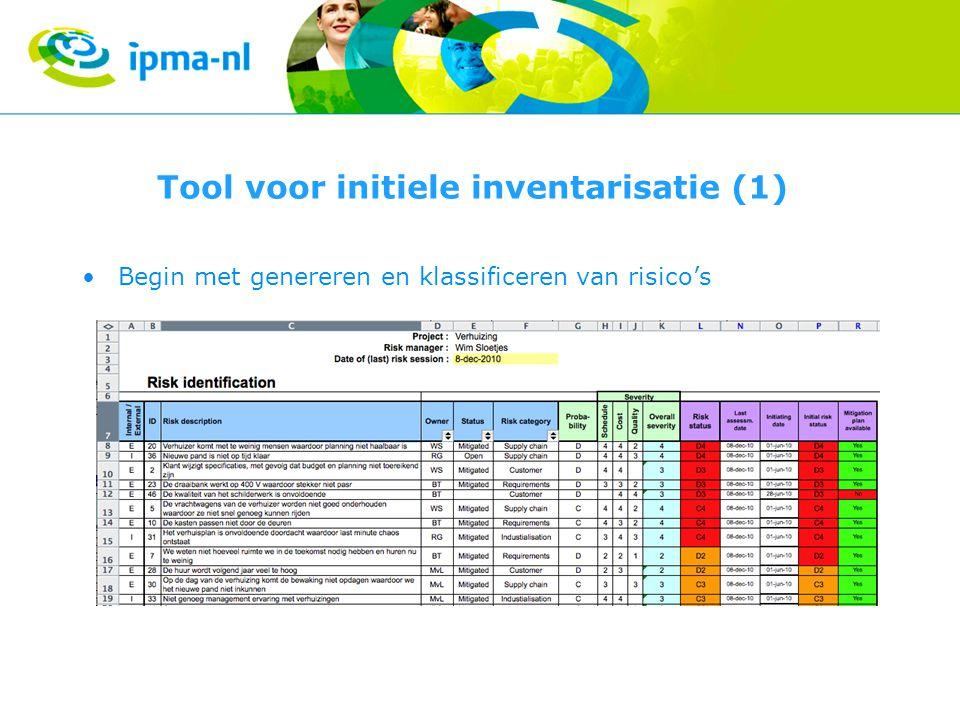 Tool voor initiele inventarisatie (1) Begin met genereren en klassificeren van risico's
