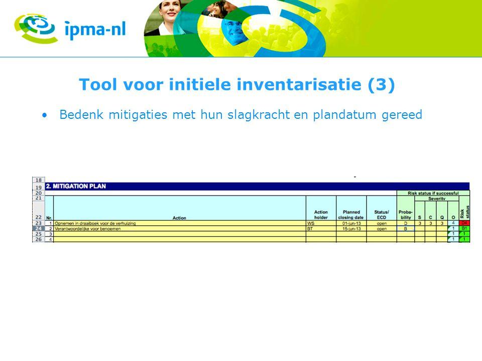 Tool voor initiele inventarisatie (3) Bedenk mitigaties met hun slagkracht en plandatum gereed