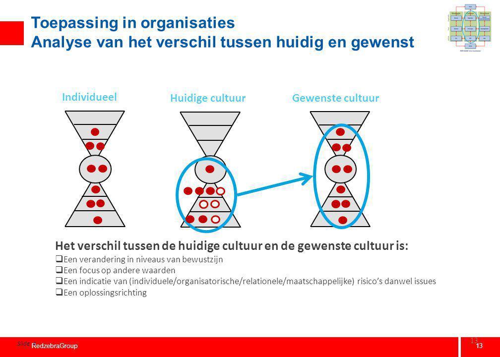 13 RedzebraGroup 13 Toepassing in organisaties Analyse van het verschil tussen huidig en gewenst Slide 4 Het verschil tussen de huidige cultuur en de