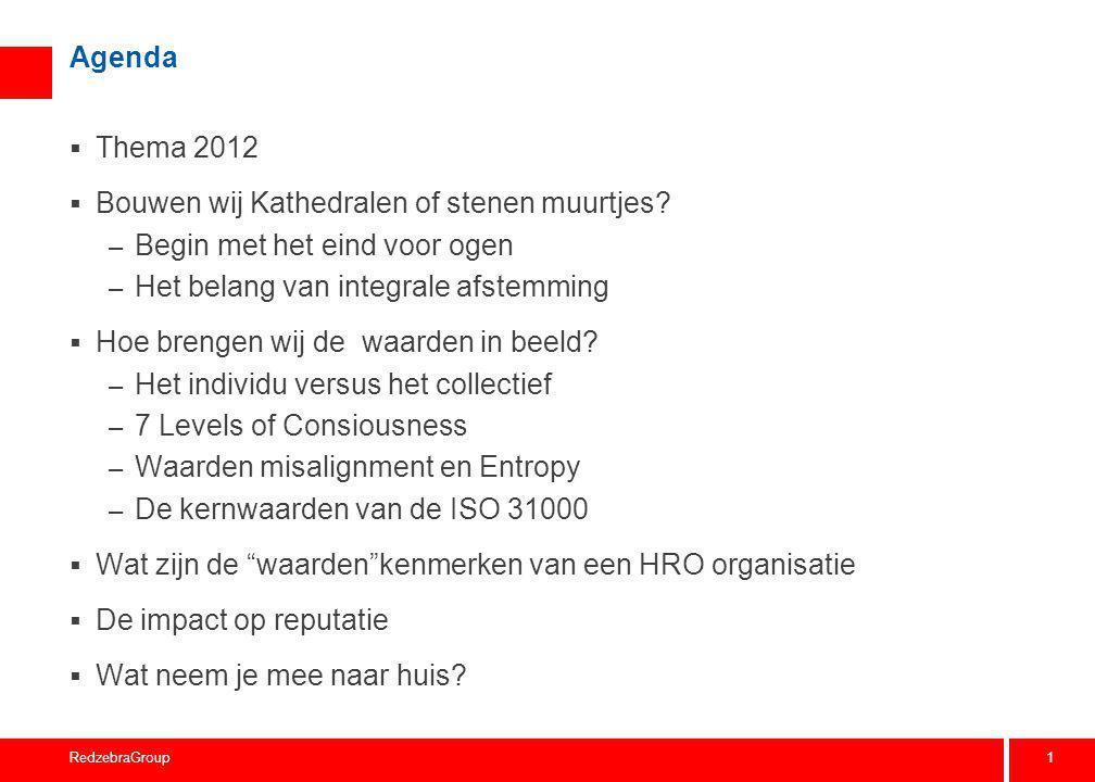 1 RedzebraGroup Agenda  Thema 2012  Bouwen wij Kathedralen of stenen muurtjes? – Begin met het eind voor ogen – Het belang van integrale afstemming