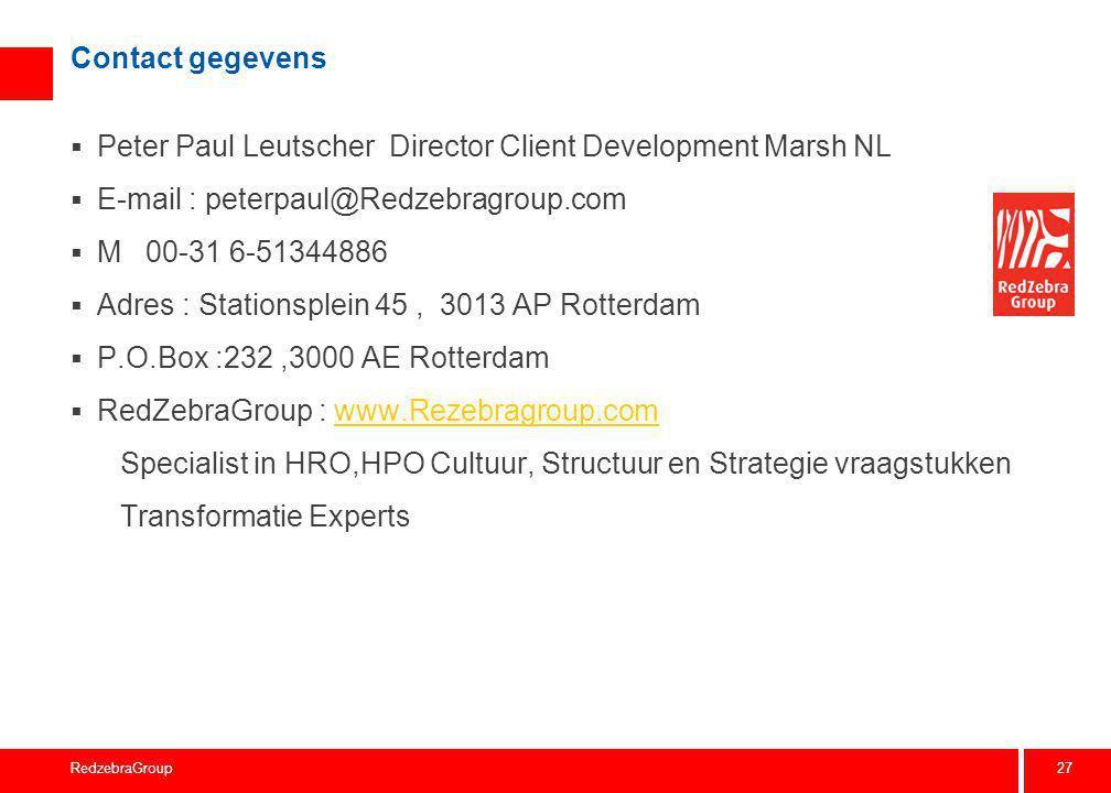 27 RedzebraGroup Contact gegevens  Peter Paul Leutscher Director Client Development Marsh NL  E-mail : peterpaul@Redzebragroup.com  M 00-31 6-51344