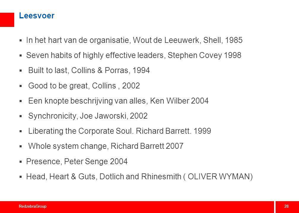 28 RedzebraGroup Leesvoer  In het hart van de organisatie, Wout de Leeuwerk, Shell, 1985  Seven habits of highly effective leaders, Stephen Covey 19
