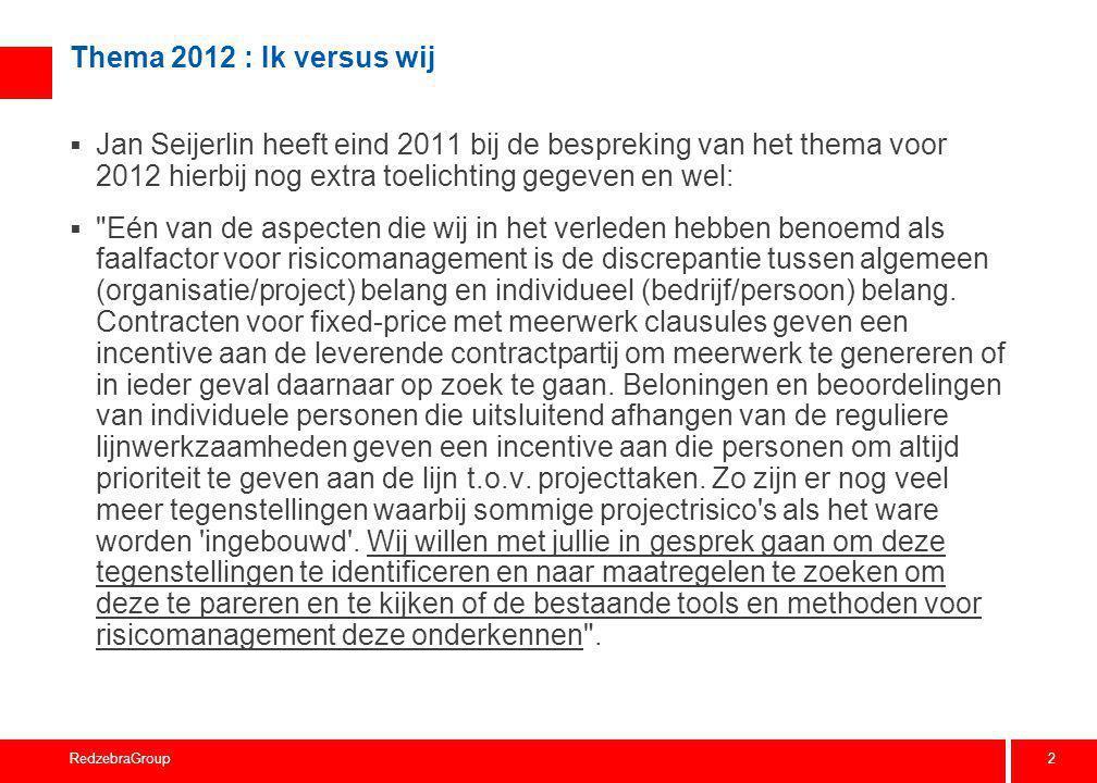 2 RedzebraGroup Thema 2012 : Ik versus wij  Jan Seijerlin heeft eind 2011 bij de bespreking van het thema voor 2012 hierbij nog extra toelichting geg