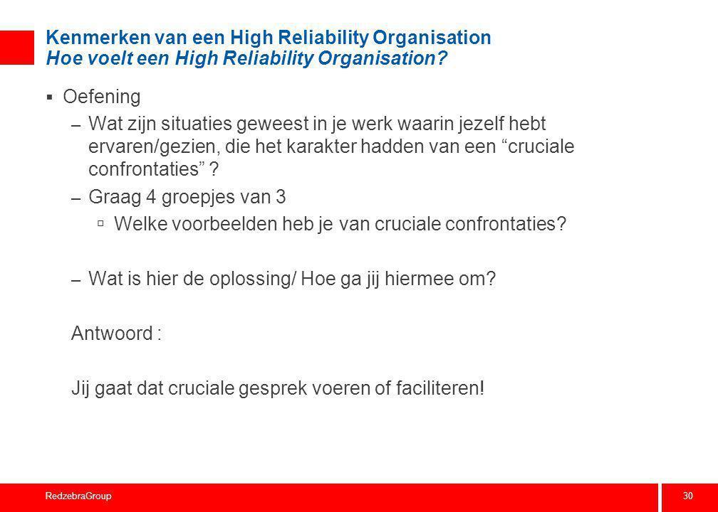 30 RedzebraGroup Kenmerken van een High Reliability Organisation Hoe voelt een High Reliability Organisation?  Oefening – Wat zijn situaties geweest