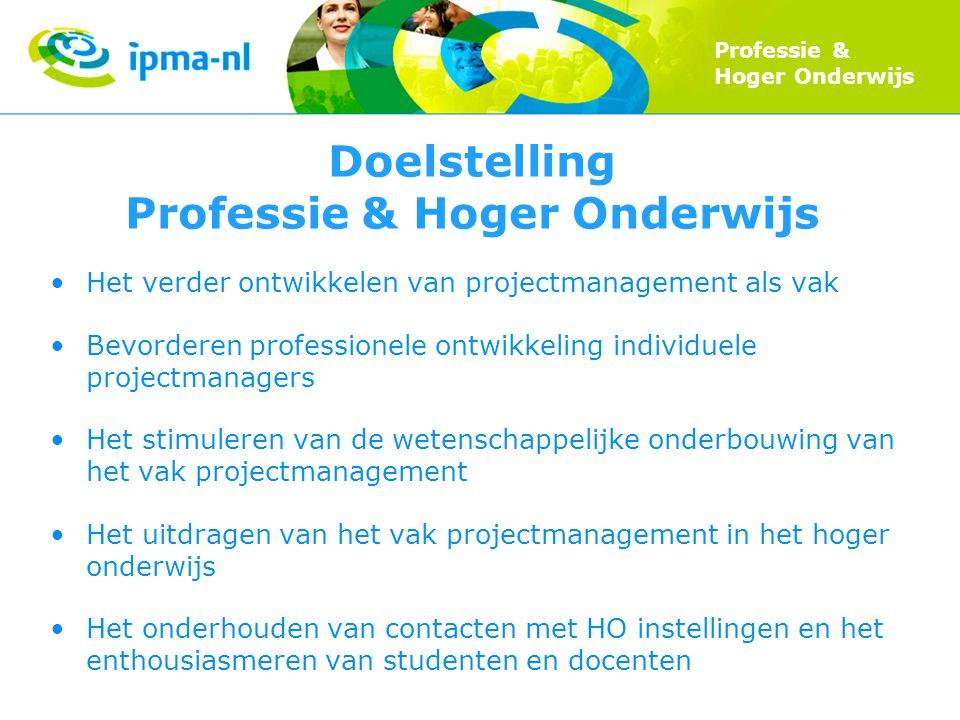 Professie & Hoger Onderwijs Doelstelling Professie & Hoger Onderwijs Het verder ontwikkelen van projectmanagement als vak Bevorderen professionele ont