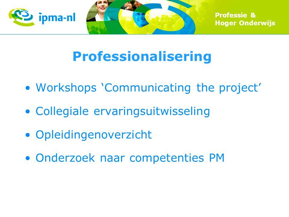 Professie & Hoger Onderwijs Professionalisering Workshops 'Communicating the project' Collegiale ervaringsuitwisseling Opleidingenoverzicht Onderzoek naar competenties PM