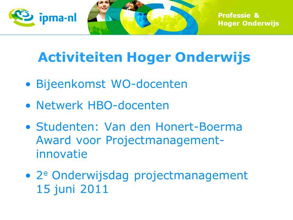 Professie & Hoger Onderwijs Activiteiten Hoger Onderwijs Bijeenkomst WO-docenten Netwerk HBO-docenten Studenten: Van den Honert-Boerma Award voor Proj