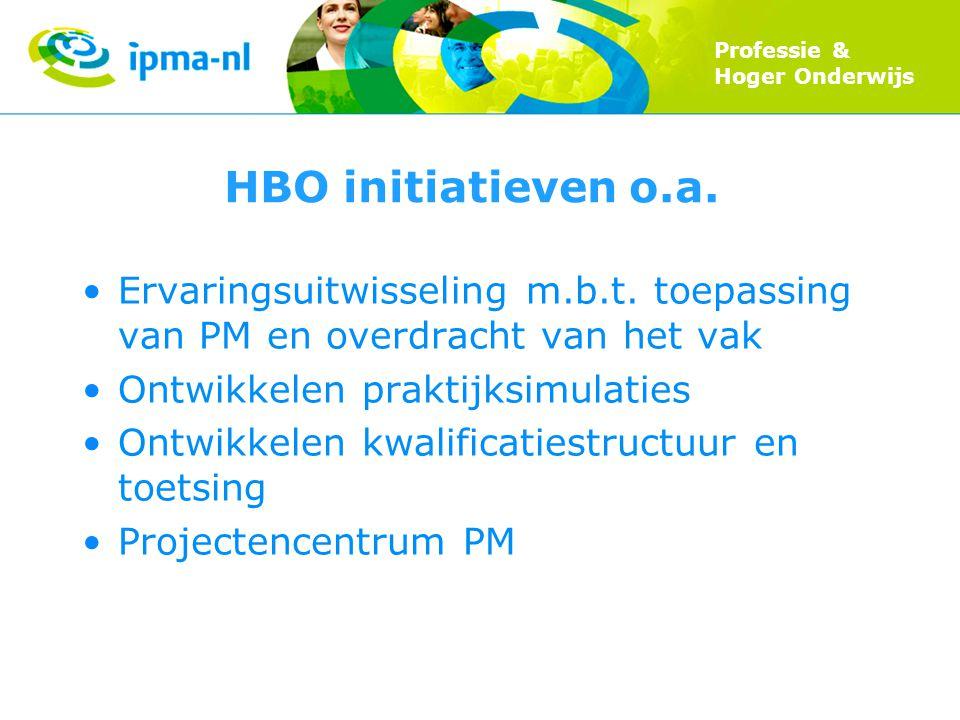 Professie & Hoger Onderwijs HBO initiatieven o.a. Ervaringsuitwisseling m.b.t.