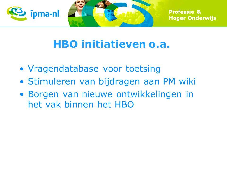 Professie & Hoger Onderwijs HBO initiatieven o.a. Vragendatabase voor toetsing Stimuleren van bijdragen aan PM wiki Borgen van nieuwe ontwikkelingen i