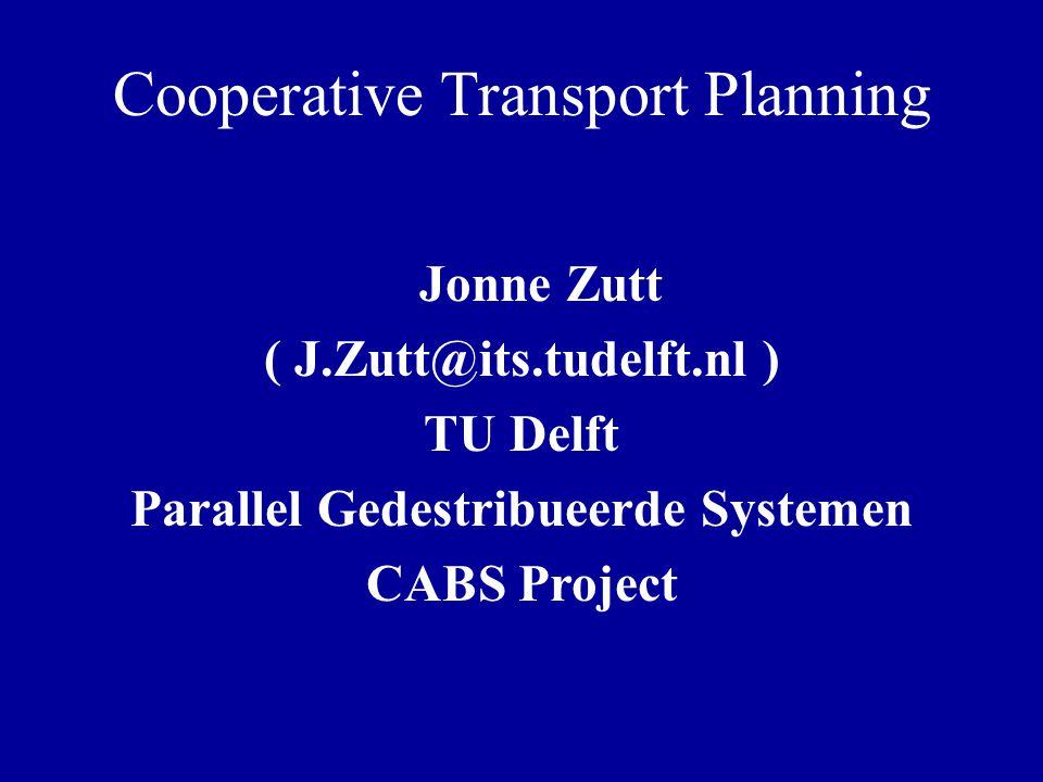 Inhoud Transport Planning Probleem (TPP) –Probleem instantie –Architectuur Twee fasen aanpak –Eerste fase –Tweede fase Simulatie Conclusies Uitbreidingen