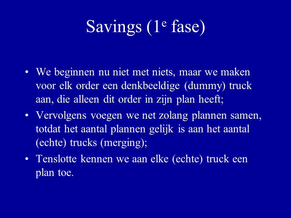 Savings (1 e fase) We beginnen nu niet met niets, maar we maken voor elk order een denkbeeldige (dummy) truck aan, die alleen dit order in zijn plan h