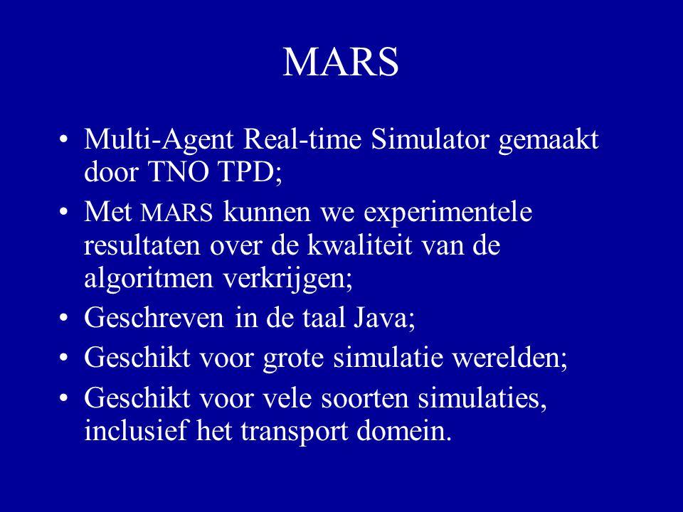 MARS Multi-Agent Real-time Simulator gemaakt door TNO TPD; Met MARS kunnen we experimentele resultaten over de kwaliteit van de algoritmen verkrijgen;