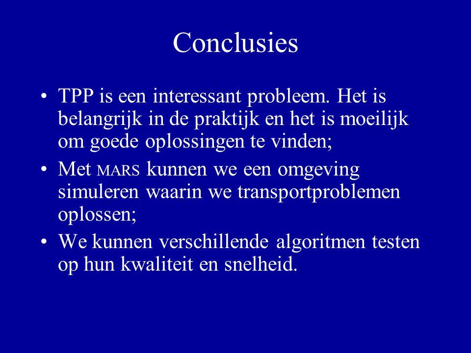 Conclusies TPP is een interessant probleem. Het is belangrijk in de praktijk en het is moeilijk om goede oplossingen te vinden; Met MARS kunnen we een