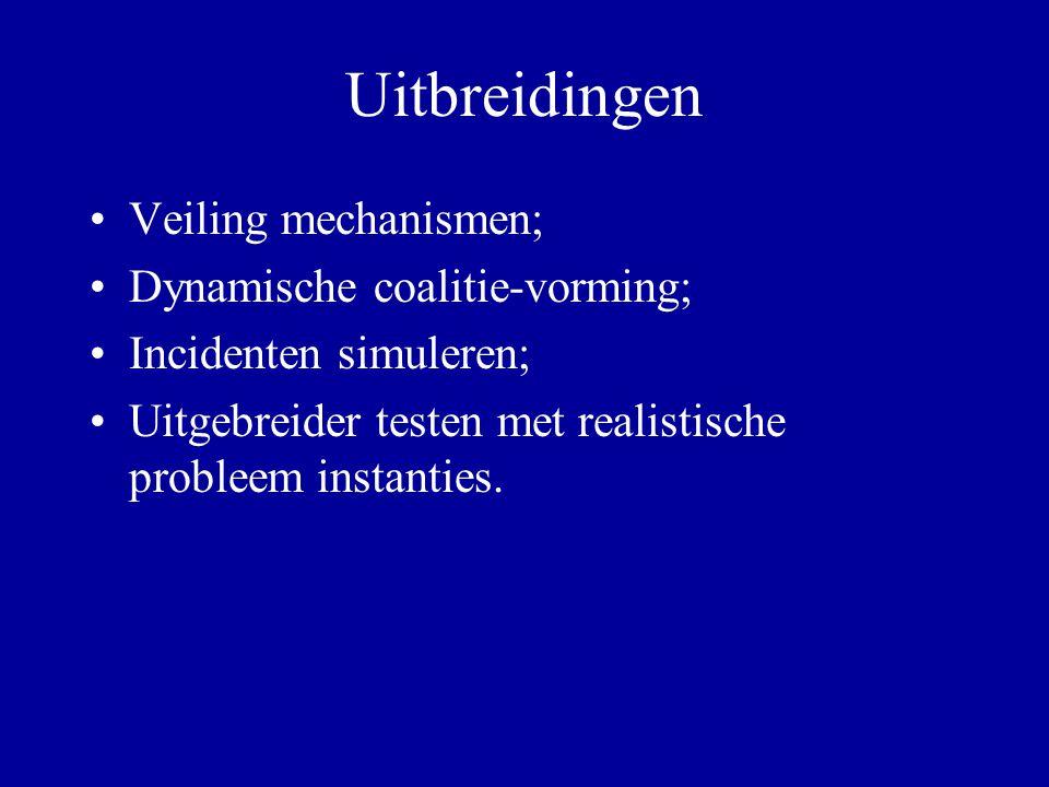 Uitbreidingen Veiling mechanismen; Dynamische coalitie-vorming; Incidenten simuleren; Uitgebreider testen met realistische probleem instanties.