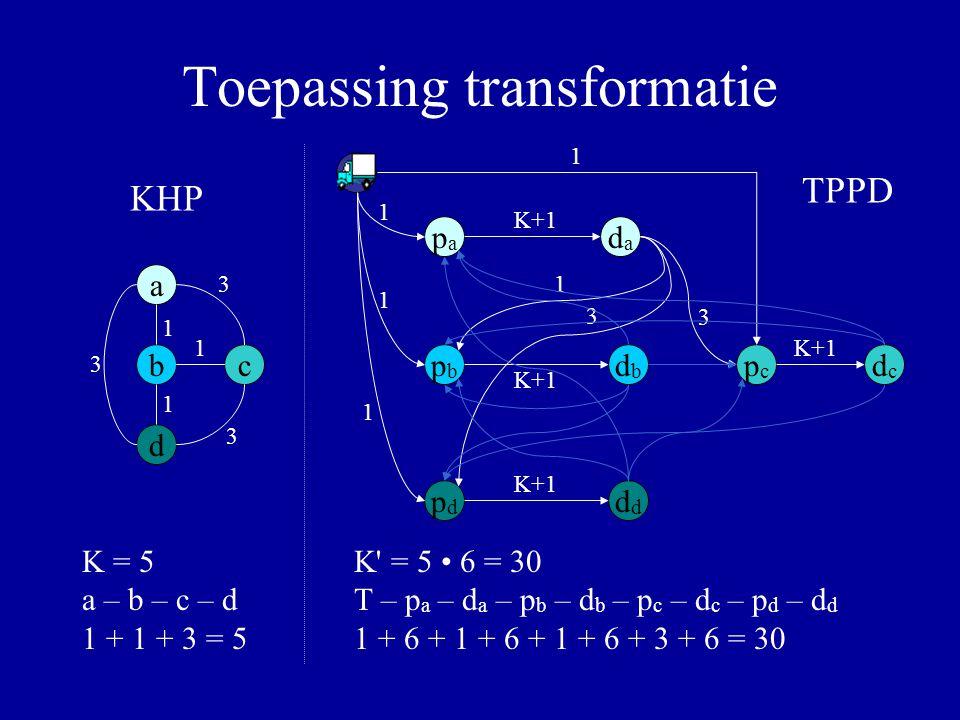 Toepassing transformatie a b d c 1 3 3 3 1 1 papa dada pbpb dbdb pdpdd pcpc dcdc 3 1 3 K+1 1 1 1 1 K = 5 a – b – c – d 1 + 1 + 3 = 5 K' = 5 6 = 30 T –