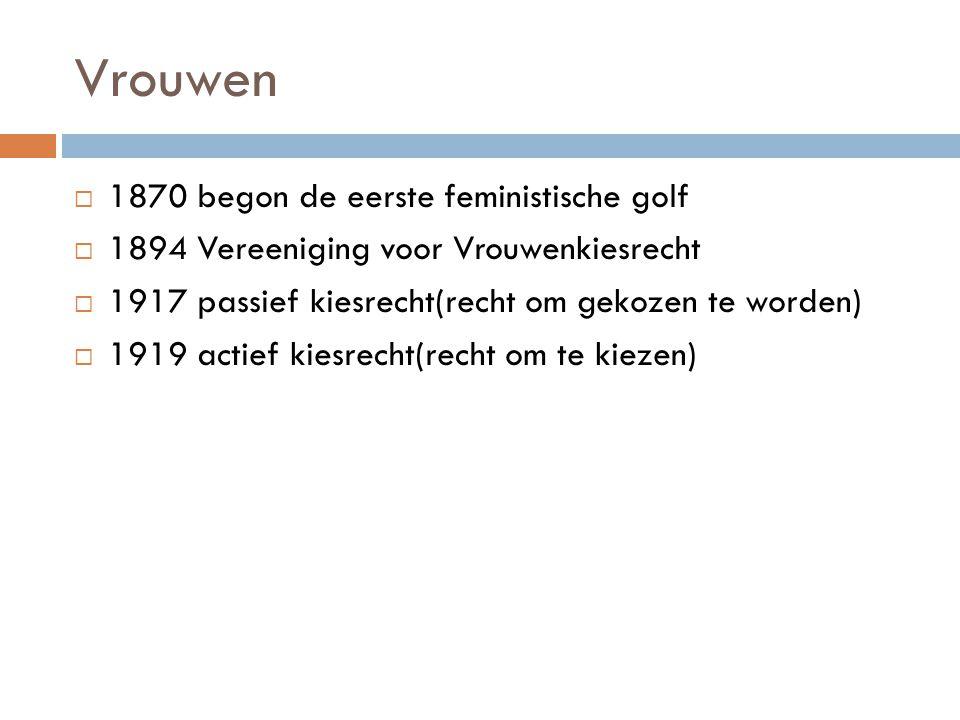 Vrouwen  1870 begon de eerste feministische golf  1894 Vereeniging voor Vrouwenkiesrecht  1917 passief kiesrecht(recht om gekozen te worden)  1919