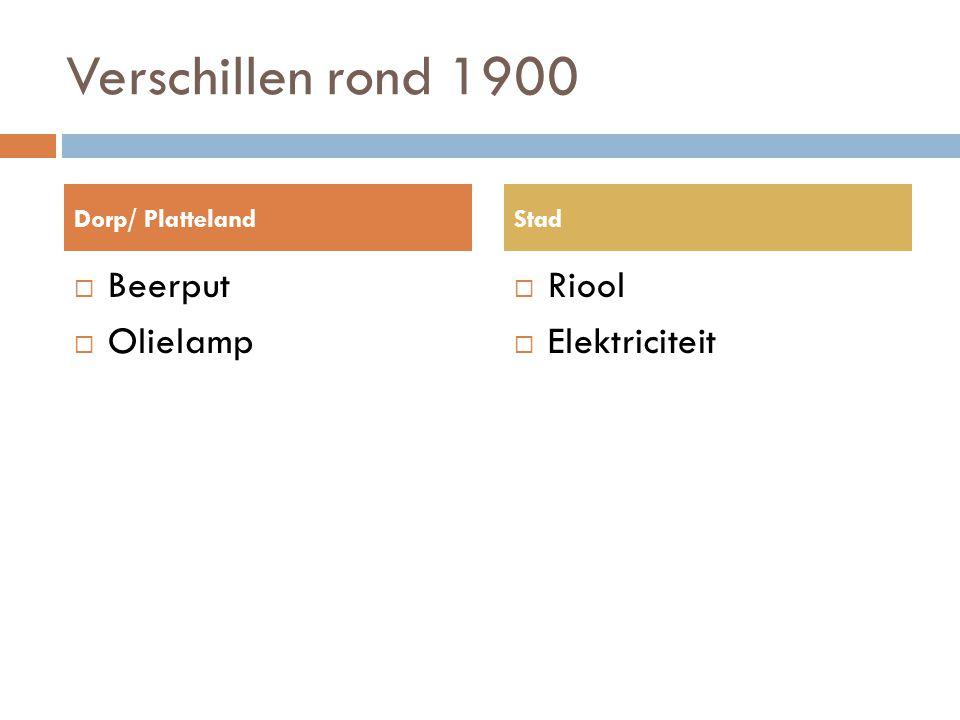 Verschillen rond 1900  Beerput  Olielamp  Riool  Elektriciteit Dorp/ PlattelandStad