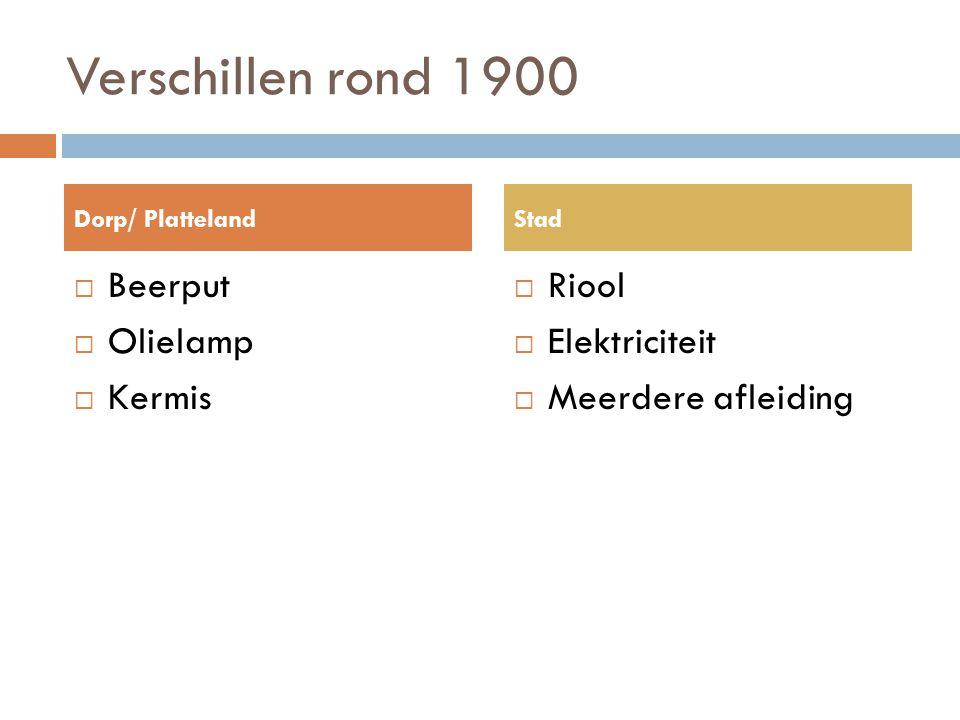 Verschillen rond 1900  Beerput  Olielamp  Kermis  Riool  Elektriciteit  Meerdere afleiding Dorp/ PlattelandStad