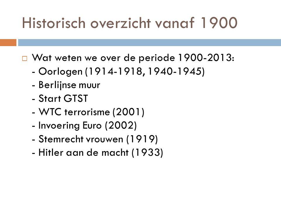 Historisch overzicht vanaf 1900  Wat weten we over de periode 1900-2013: - Oorlogen (1914-1918, 1940-1945) - Berlijnse muur - Start GTST - WTC terror