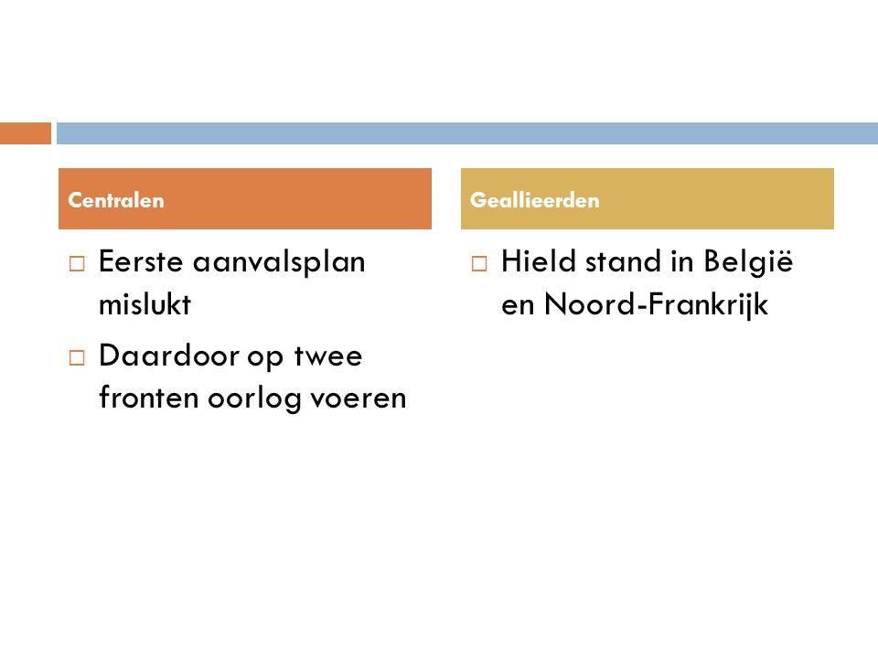  Eerste aanvalsplan mislukt  Daardoor op twee fronten oorlog voeren  Hield stand in België en Noord-Frankrijk CentralenGeallieerden
