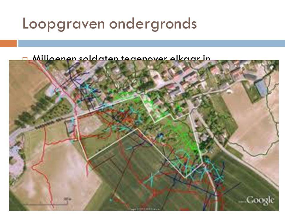 Loopgraven ondergronds  Miljoenen soldaten tegenover elkaar in onneembare stellingen: Loopgraven