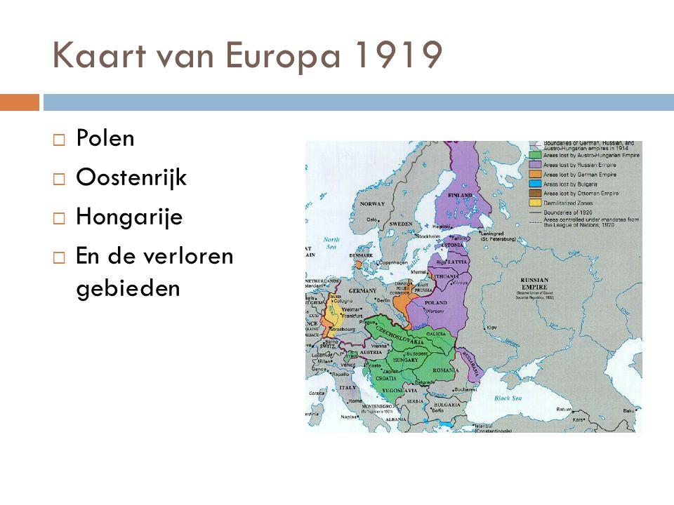 Kaart van Europa 1919  Polen  Oostenrijk  Hongarije  En de verloren gebieden