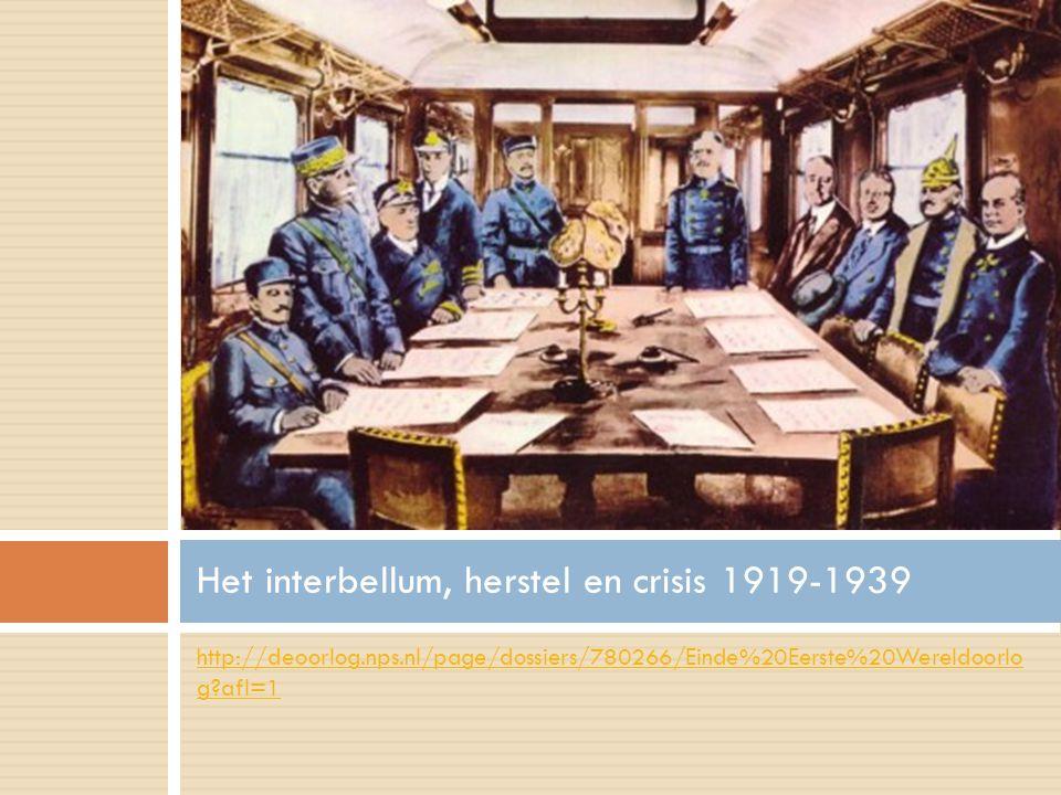 http://deoorlog.nps.nl/page/dossiers/780266/Einde%20Eerste%20Wereldoorlo g?afl=1 Het interbellum, herstel en crisis 1919-1939