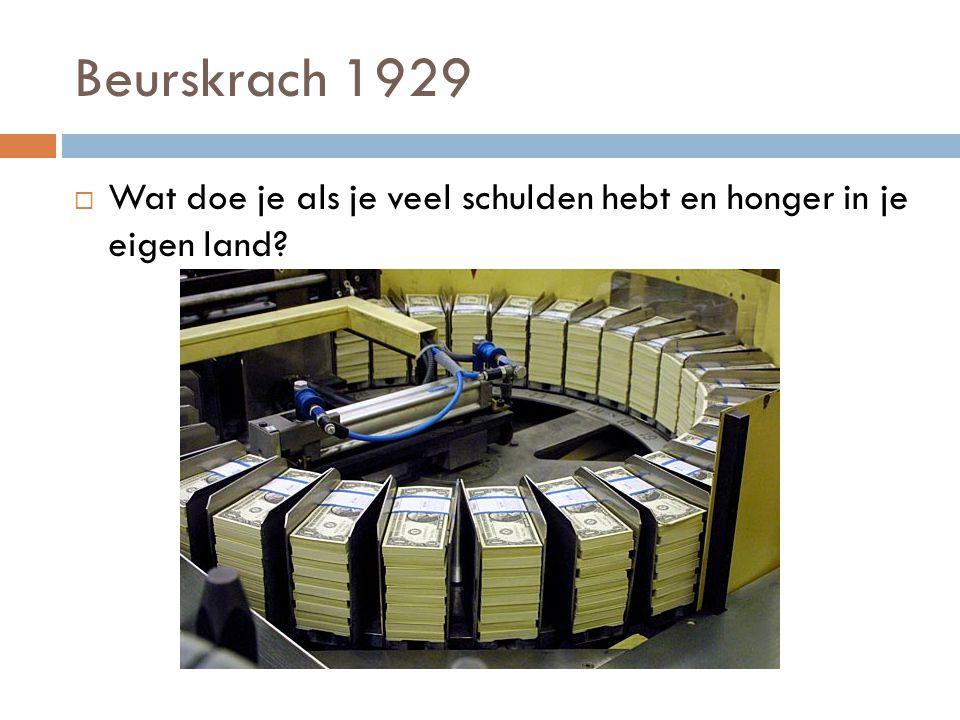Beurskrach 1929  Wat doe je als je veel schulden hebt en honger in je eigen land?