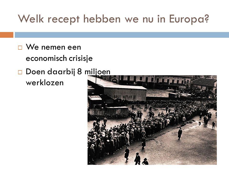 Welk recept hebben we nu in Europa?  We nemen een economisch crisisje  Doen daarbij 8 miljoen werklozen