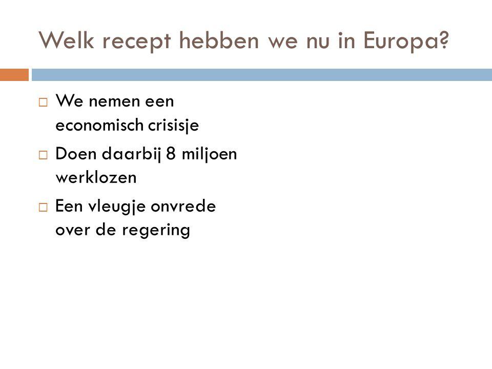 Welk recept hebben we nu in Europa?  We nemen een economisch crisisje  Doen daarbij 8 miljoen werklozen  Een vleugje onvrede over de regering