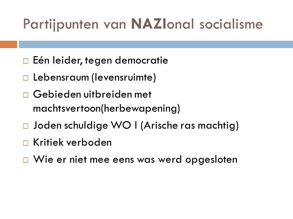 Partijpunten van NAZIonal socialisme  Eén leider, tegen democratie  Lebensraum (levensruimte)  Gebieden uitbreiden met machtsvertoon(herbewapening)