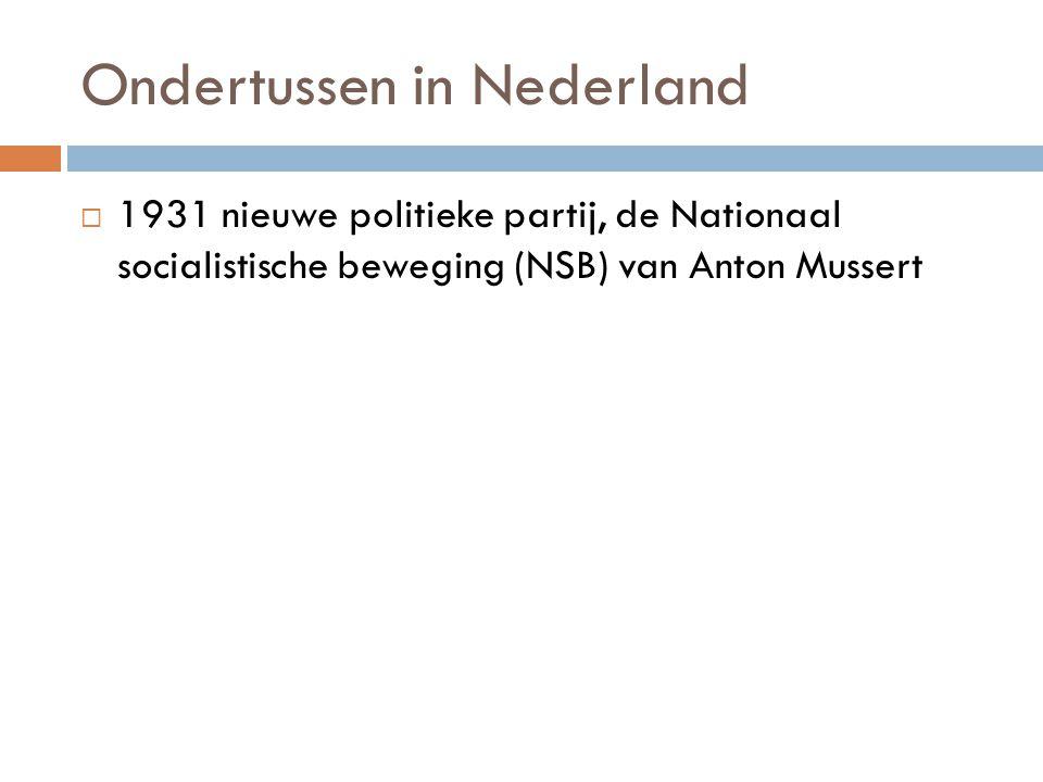 Ondertussen in Nederland  1931 nieuwe politieke partij, de Nationaal socialistische beweging (NSB) van Anton Mussert